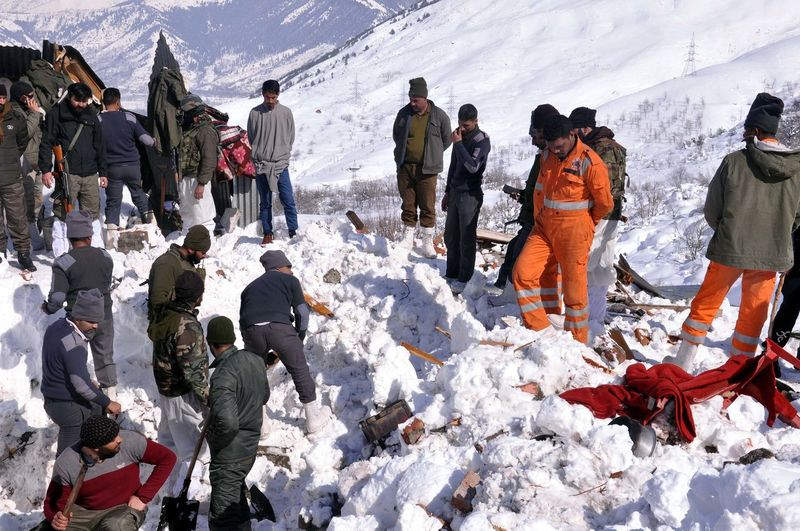 Rescuers work at the site of avalanche at Jawahar Tunel, some 90 kilometers south of Srinagar, 08 February 2019. Seven persons died and three others were rescued alive from the site of an avalanche. Ten people were in snow after an avalanche hit a police post near Jawahar Tunnel on 07 February evening. Warm Clothing Snow Cold Temperature Winter Snowing Mountain Sky Snowcapped Mountain Ski Slope