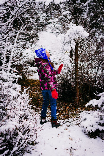 Snow Cold Temperature Winter Tree One Person Plant Warm Clothing Full Length Nature Child Day Real People Covering Childhood Clothing Standing Beauty In Nature Land Leisure Activity Outdoors Extreme Weather Innocence Snowing