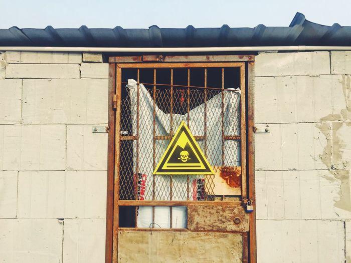 Built Structure Architecture Building Exterior Door Danger Sign Dangerous Abandoned