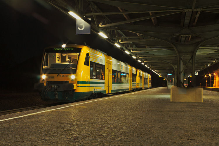 OE60V morgens in Bischofswerda Architecture Bischofswerda Built Structure Ceiling City Illuminated Land Vehicle Light Lighting Equipment Mode Of Transportation Motion Night No People One Person Outdoors Public Transportation Rail Transportation Railroad Station Railroad Station Platform Railroad Track Track Train Train - Vehicle Transportation Travel