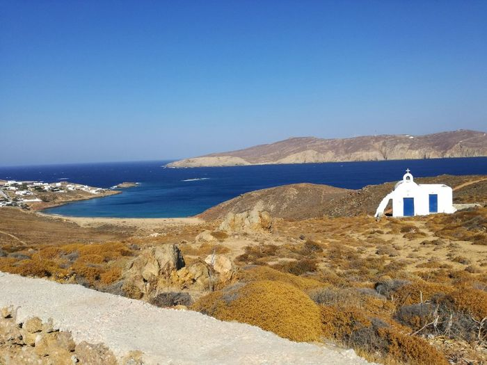 Unknown special place in the Cyclades islands. Summer Beach Water Paradise Sky Landscape Travel Wave Island Sand Greece Sunny Mykonos Mediterranean  Clear Sky Wonderful Cyclades Sand Dune Raconets Viaje Sea Blue Nature Tranquility No People