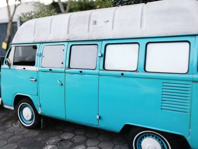EyeEm Selects let's go to the zoo Retro Styled Old-fashioned Blue Van