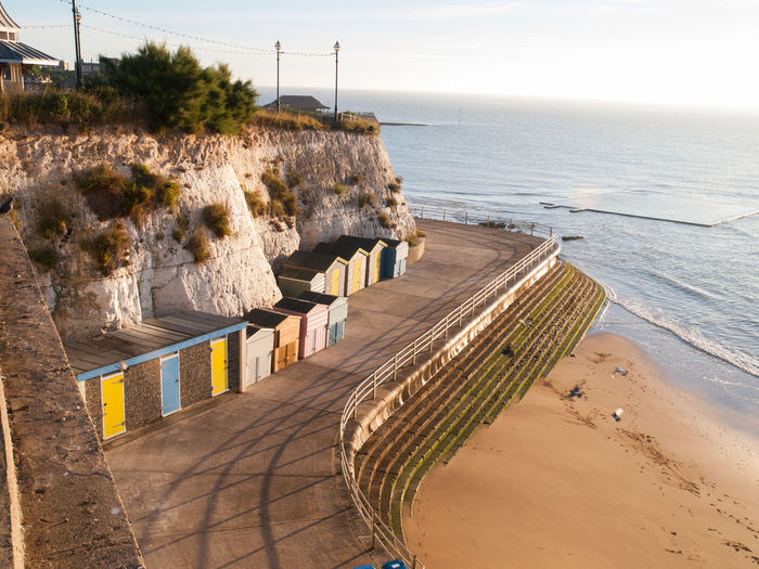 High Angle View Of Beach Huts Against Sky