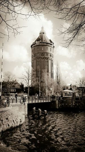 Discover Your City Groningen, Monument, Water Tower in Vintage Monochrome Sepia