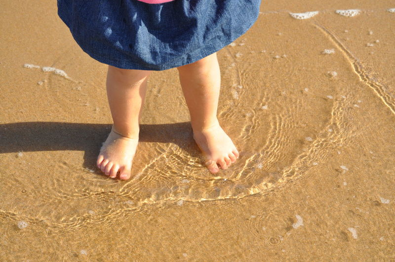 Babygirl Beach Child Childhood Close-up Day Feet Girl Human Body Part Human Leg Legs Low Section On The Water One Animal One Person Outdoors People Real People Sand Standing Sunlight Water