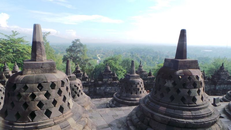 Spirituality Religion Built Structure Place Of Worship Architecture Art And Craft Sky Tree Art Stone Material Stupa INDONESIA ASIA Borobudur Temple Borobudur Temple - Building Cloud - Sky Day Borobudur Temple Outdoors Nature Creativity History Weathered