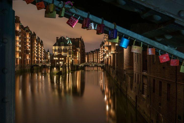 Wasserschloss Architecture Hamburg speicherstadt Water Reflection City Built Structure Night Bridge - Man Made Structure Travel Destinations Germany