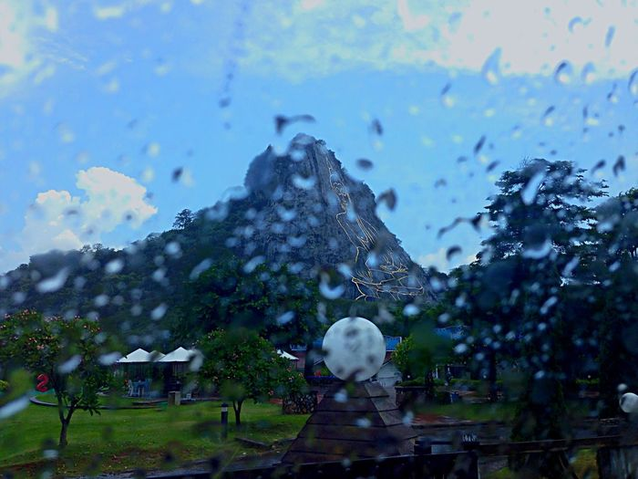 Hello World People Watching Mountains Buddha Rain In The Car From My Window Traveling From My Point Of View On The Road