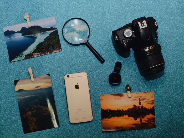 flatlays Flatlayphotography Flatlay High Angle View Still Life Table Indoors  No People Directly Above Glasses Communication Black Color Blue Wireless Technology Photography Themes Fashion Smart Phone Camera - Photographic Equipment Watch Container Technology Arts Culture And Entertainment Time