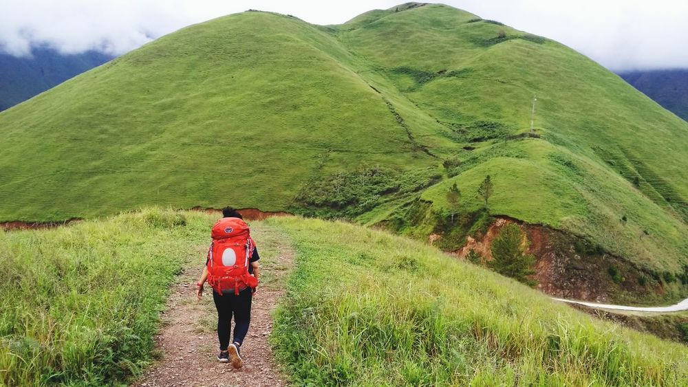 Mountain Full Length Women Hiking Farmer Terraced Field Agriculture Backpack Walking Ancient Civilization