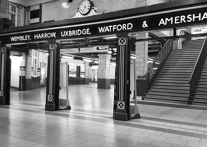 Baker Street Tube Station this week at 0752am Architecture Built Structure Transportation Communication Travel No People Leaving Railroad Station Transportation London Blackandwhite Rail Transportation Cityscape