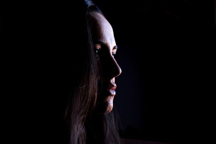 Darkness Woman darkness and light Dark Darkness And Beauty Darkness Dark Beauty Beautiful People Beautiful Woman Black Background Portrait Girl Black Background Shouting Human Face Studio Shot Headshot Spooky Mouth Open Long Hair Chiaroscuro  Tangled Hair Posing Pretty