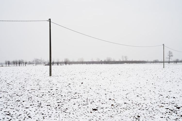 A field of wheat covered by snow (Piedmont, Italy) Snow Cold Temperature Winter Sky Nature Tranquility Covering Tranquil Scene Scenics - Nature Frozen Climate Outdoors Electricity  Landscape White Color Field Environment Cable Land Beauty In Nature No People Day EyeEm Best Shots Piemonte Italy