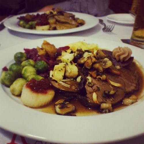 Dinner with my Aunt  , Deer Steak meal during hunting season, restaurant ratskeller, Bern switzerland