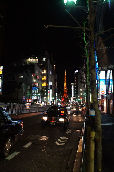 Night Nightlife Tokyo,Japan Tokyo Tower Nightview City Street City Street Travel In Japan Explore Car Traffic City Illuminated City Life Outdoors Road Transportation Architecture No People Cityscape Building Exterior Yellow Taxi Sky