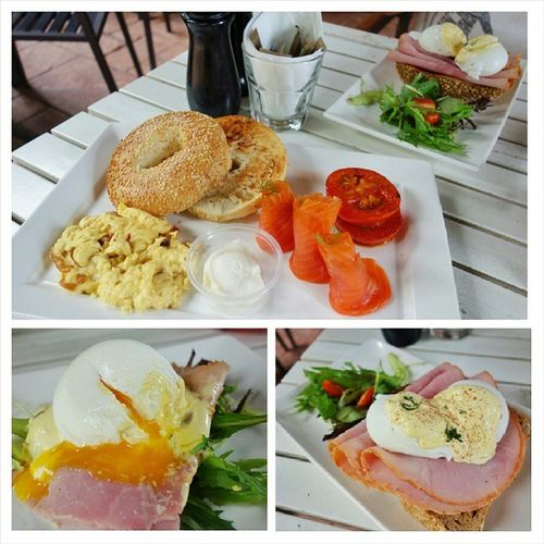 Good Morning New York (scrambled eggs with caramelised onions that goes very well with the smoked salmon, roasted tomatoes, sesame bagel and cream cheese) Eggs Benedict (poached eggs and ham with hollandaise sauce on homemade toast, and salad) Overall good and value for money! Chockfullofbeans Delicious Breakfast Brunch foodplease eatout foodporn fatdieme makanhunt food instagood instafood instafoodies foodie fotd foodgram foodinc sgfood sgigfoodies singaporefood foodforfoodies foodstagram lifeisdeliciousinsingapore happytummy foodphotography foodpics openricesg FoodReviewsAsia