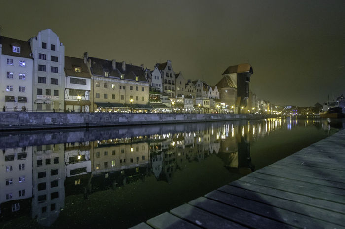 Architecture Building Exterior Built Structure City Cityscape Gdansk Illuminated Night No People Outdoors Poland Reflection Sky Tenement Houses Tenements Travel Destinations Water