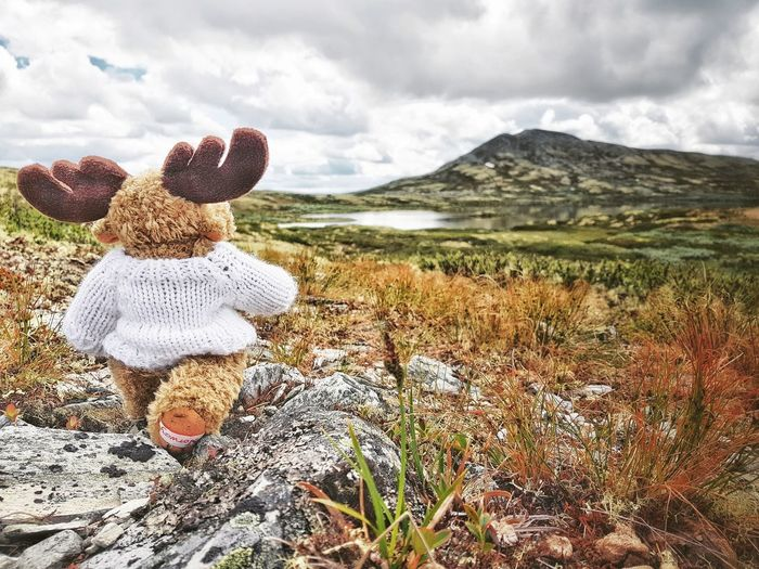 Elkies hike Hiking Hikingadventures Elkie Cuddly Toy Stuffed Toy Plushie EyeEm Selects Mountain Sky Landscape Cloud - Sky Mountain Range Mountain Peak Hiker Toy Animal