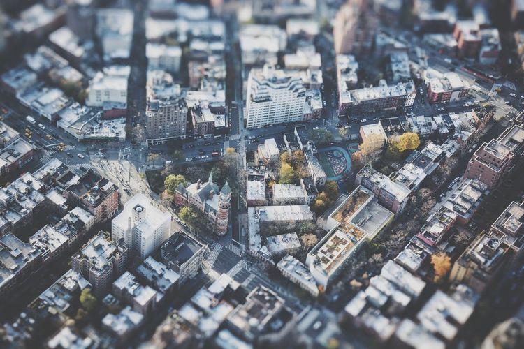 Tilt-shift image of cityscape