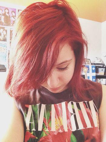 New hair and new nirvana tee ;P Red Hair Nirvana Shirt Nirvana