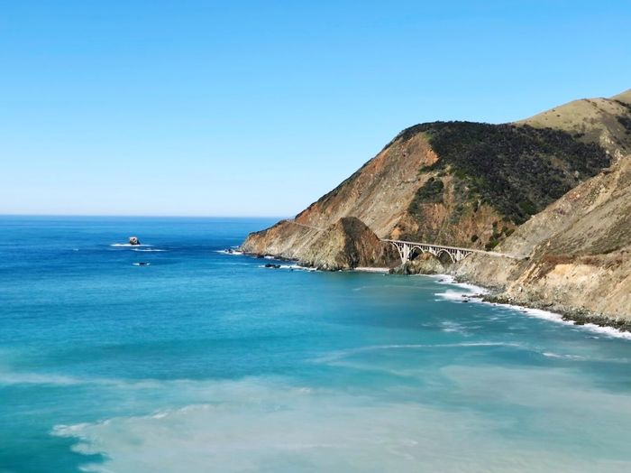 Big Sur Water Sea Sky Scenics - Nature Blue Beauty In Nature Clear Sky Mountain Tranquility Tranquil Scene Copy Space Day Horizon Over Water Nature Land Waterfront No People Horizon Idyllic Outdoors