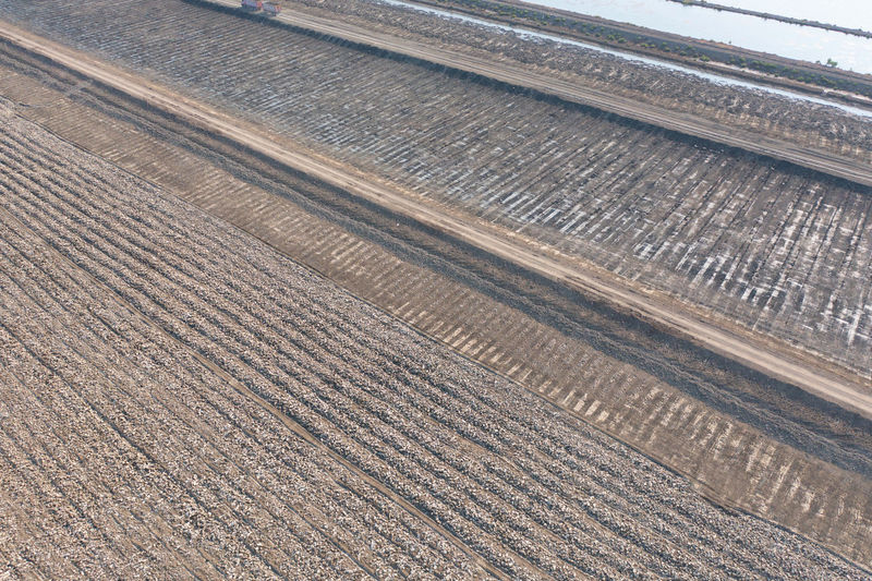 High angle view of railroad track on field