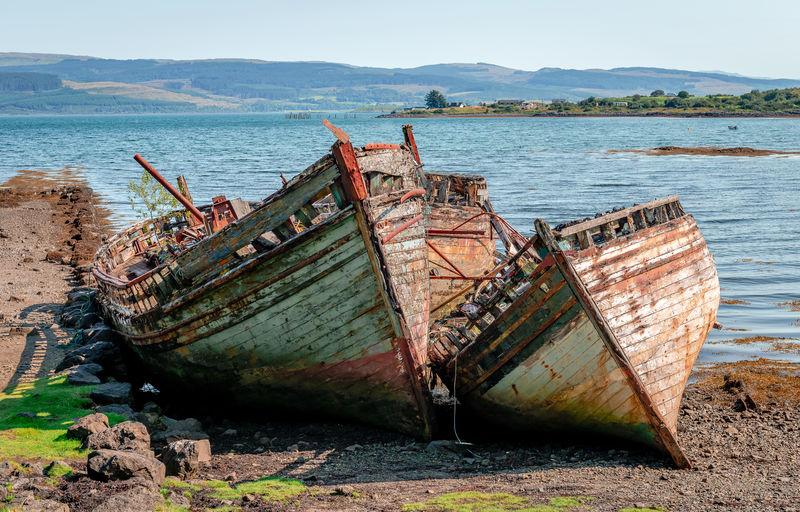 Abandoned fishing boat on sea shore