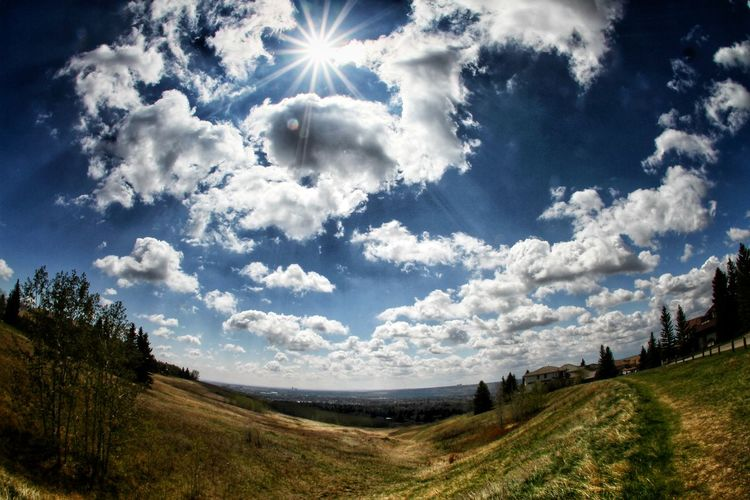 Cloudporn, Lamdscape, Fisheye Fisheye Landscape Nature Outdoors Wilderness Tree Sky Landscape Cloud - Sky Grass Shining Farmland Sunbeam Sun Countryside Lens Flare Grassland Agricultural Field Tranquility Country House