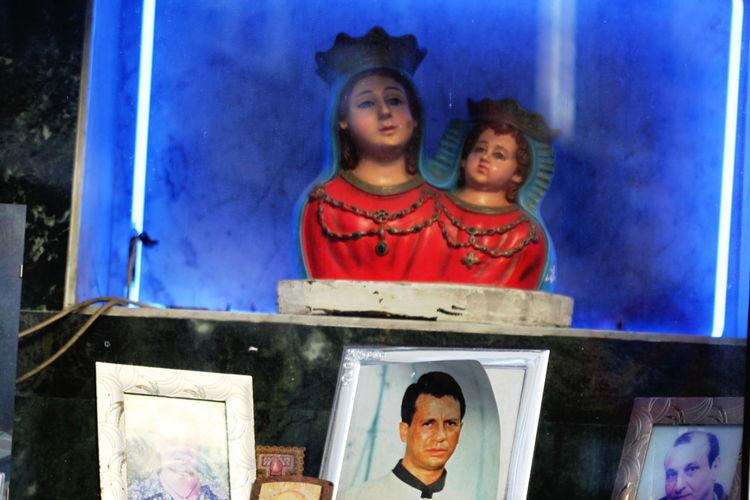 Baby Jesus Blue Background Italy Lifestyles Napoli Night October 2016 Outdoors Photography Virgin Mary Votive Altar