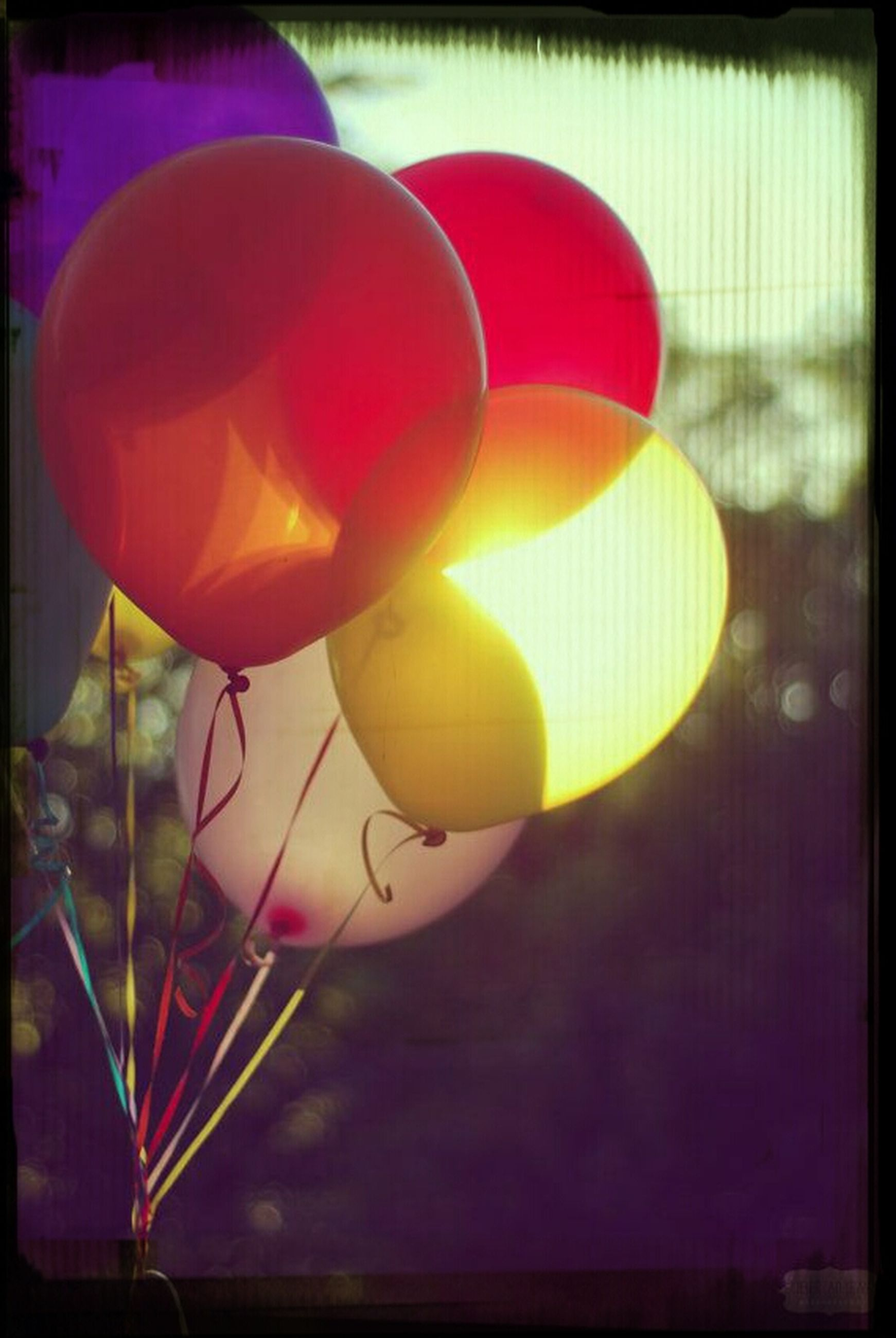 transfer print, auto post production filter, multi colored, indoors, hanging, close-up, decoration, balloon, red, no people, celebration, colorful, lighting equipment, still life, illuminated, yellow, focus on foreground, creativity, art, art and craft