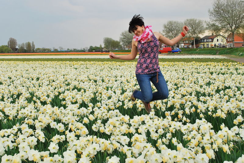 Adult Agriculture Beauty In Nature Day Field Flower Fragility Freshness Full Length Girl In Flowers Growth Holland Holland Fried Jumping Motion Nature One Person Outdoors People Real People Rural Scene Sky Young Adult