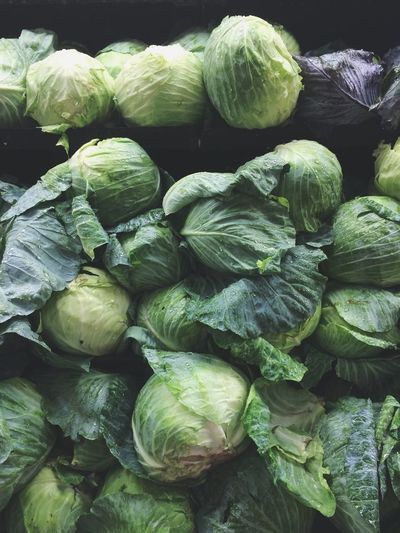Close-up of cabbages in market