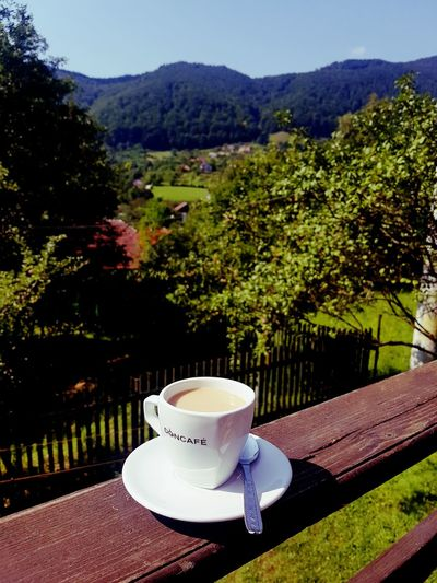 café and mountains Coffee Cup Coffee - Drink Food And Drink Drink Saucer Cup Refreshment No People Healthy Eating Coffee Break Outdoors Day