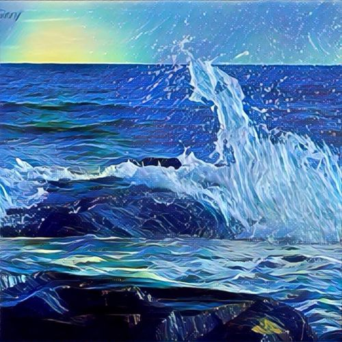 Slashing waves at the beach against a boulder. Sea Wave Water No People Beauty In Nature Outdoors Beach Day Horizon Over Water