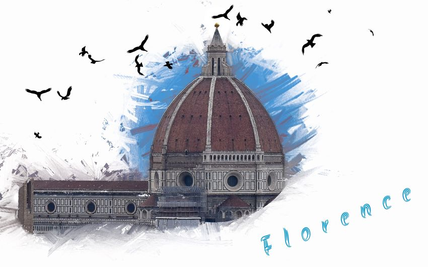 Postcard from Florence Florence♡ Santa Maria Del Fiore Designed Design Postcards From Italy Postcard Florence Italy Florence Bird Vertebrate Flying Animal Themes Animal Animals In The Wild Sky Architecture Digital Composite No People