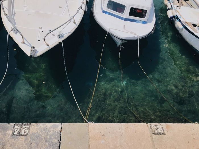 Day High Angle View Mode Of Transportation Moored Nature Nautical Vessel No People Outdoors Pier Reflection Rope Sea Tied Up Transportation Travel Water Waterfront