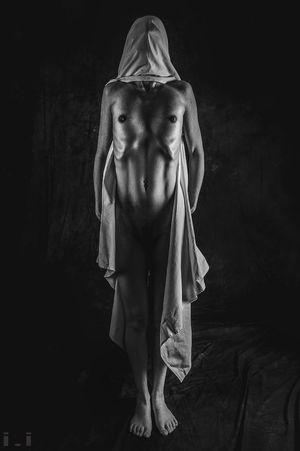 One Person Studio Shot Black Background Indoors  Adult Front View Young Adult Full Length Women Shirtless Standing Beauty Dark Fear Emotion Human Body Part Females Beautiful Woman Contemplation Depression - Sadness