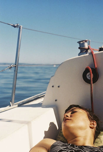 Adult Beauty Blue Blue Sky Blues Boat Clear Sky Day Headshot Lifestyles Nautical Vessel One Person Outdoors Portrait Sea Sea And Sky Seaside Season  Sky Summer Sun Transportation Vibes Watching Woman Women Around The World Long Goodbye Live For The Story