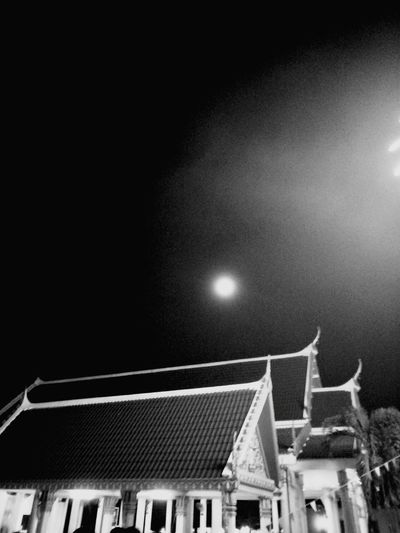 #Thailand #Phuket #temple Blackandwhite Moonlight Built Structure Sky Astronomy Illuminated Moon Night Low Angle View Roof No People Architecture Building Exterior Outdoors