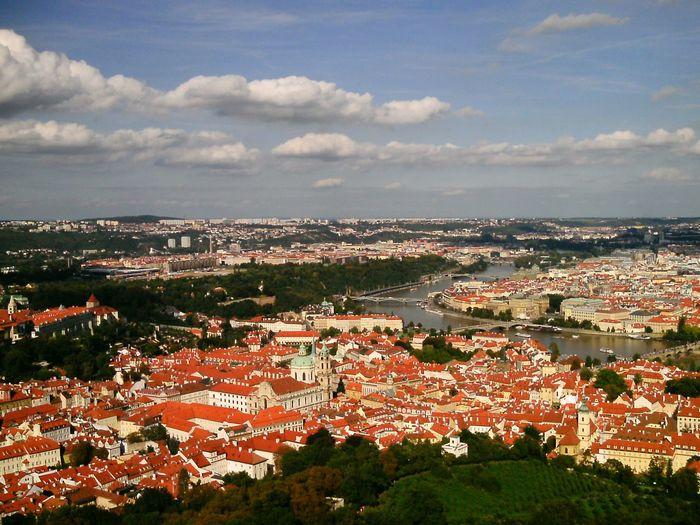 City Aerial View Prag Prague Kleinseite St. Nicolas Church Kostel Sv. Mikuláše Moldau Prager Kleinseite Petrïn View Over The City
