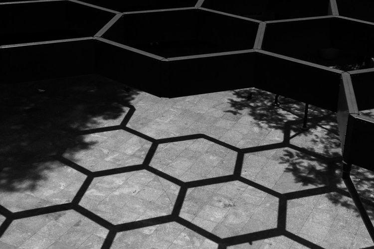 High angle view of tiled floor