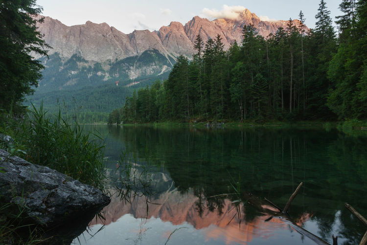 Zugspitze Mountain Water Beauty In Nature Scenics - Nature Tranquility Tranquil Scene Lake Mountain Range Tree Nature No People Reflection Idyllic Landscape Waterfront Dusk Sundown EyeEmNewHere EyeEm Best Shots EyeEm Nature Lover EyeEm Selects EyeEm Gallery Eye4photography  Hiking Non-urban Scene