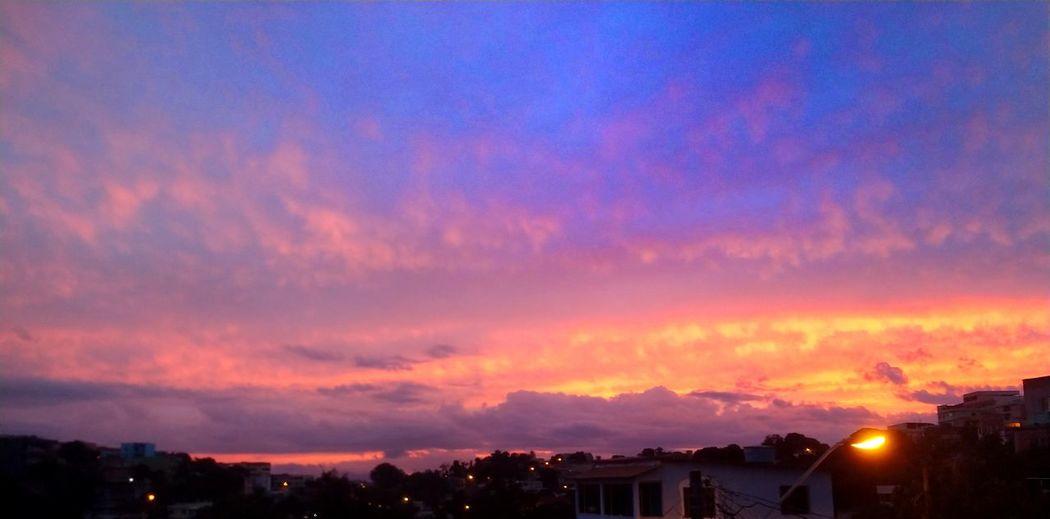 • Campo grande cariacica - ES City Multi Colored Sunset Illuminated Beauty Tree Horizon Fog Mountain Red