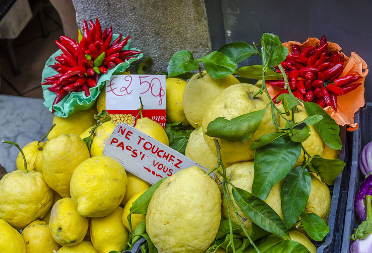 Close-up of various fruits for sale at market stall