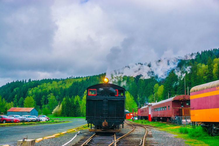 Green Color Mount Rainier, Washington, Nature, Smoke Beauty In Nature Cloud - Sky Cloud Sky Day Land Vehicle Locomotive Mode Of Transport Mount Rainier Railroad & Logging Museum Mountain No People Outdoors Rail Transportation Railroad Track Sky Steam Train Train - Vehicle Transportation
