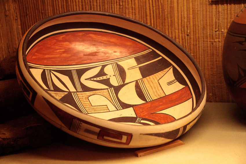 San Diego, CA, USA – November 28, 2017: Acoma Pueblo Native American art from New Mexico displayed at the Seeley Stable Museum in San Diego. Antique ArtWork Native American Art Native American Indian New Mexico Pueblo Seeley Stable Museum Acoma Antique Art Art Chemehuevi Hopi Native American Culture Pottery