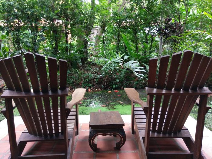 Empty chairs and table in garden