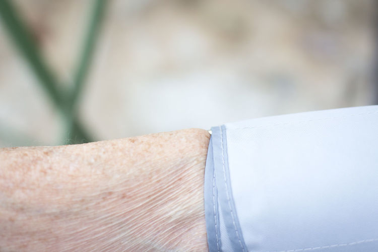 Close-up of hand with blood pressure gauge