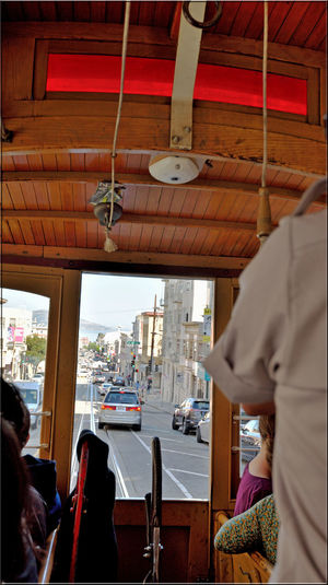 Riding The Hyde Street Cable Car 1 San Francisco CA🇺🇸 Hyde/Powell Cable Car Streets Of San Francisco Cable Car Viewpoint Track Cars Manually Operated Conductor Brake Down Hill Bell Cord Passengers Grip Car San Francisco Municipal Railway MUNI Intermodal Urban Transport Network Architect : Andrew Smith Hallidie 1873 Powell-Hyde St Line Est 1957 Fisherman's Wharf National Register Of Historic Places 66000233 U.S. National Historic Landmark