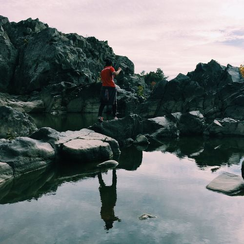 My cousin and I️ went hiking and after taking this she fell in the water Tranquility Outdoors Hiking Adventure Nature Backpack Water Full Length Reflection Rock - Object